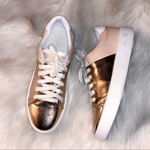 ZARA Rose Gold Metallic Platform Sneaker